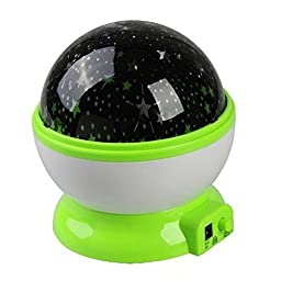 WONFAST® Romantic Fairy Starry Sky Ceiling Moon Star 360°Rotating Night Light Laser Projector Lamp for Christmas Kids Bedroom (Green)