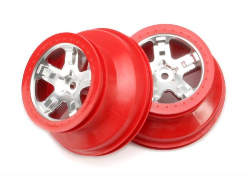 Traxxas 5872A Short Course Wheels, Satin Chrome Dual Profile, Rear, Slash, 2-Piece - 1