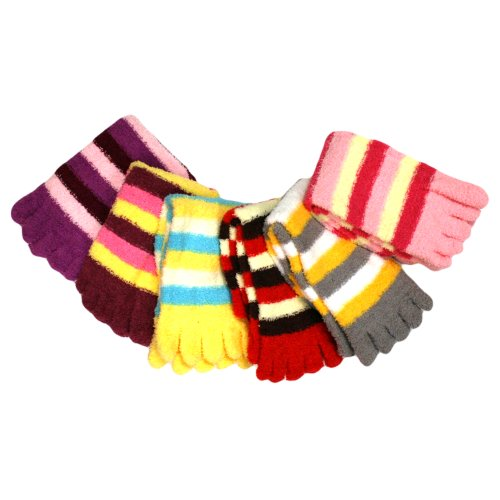 Assorted Multi-colored Striped Fuzzy Toe Socks 6 Pack