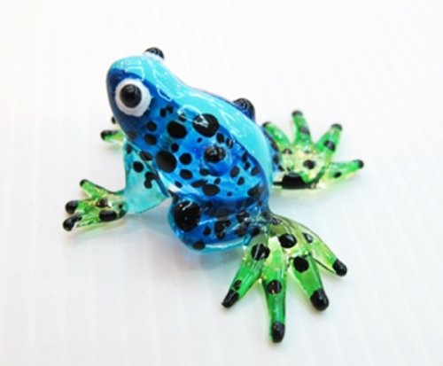 Lampwork COLLECTIBLE MINIATURE HAND BLOWN Art GLASS Mini Frog, Size SS, Blue FIGURINE