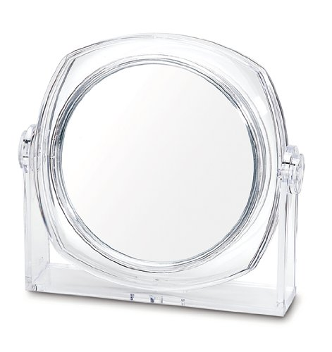 Danielle D202 Ultra Vue Clear Acrylic Collection Easel Style Vanity Mirror, 4X, Clear