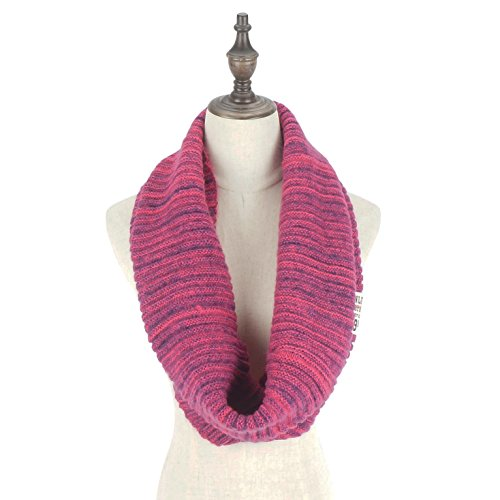 RiscaWin Women Stylish Mixed Color Thick Ribbed Knit Winter Infinity Circle Loop Scarf (Reseo)