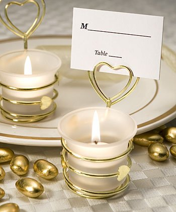 Heart Design Candle Favors/Place Card Holders (QTY.1)