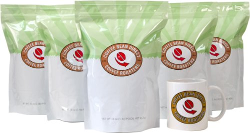 Coffee Bean Direct Coffee 5-Pack Sampler, Flavored, 5 Pound