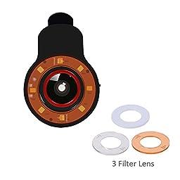 Cyxus Spot Selfie Mini Light (Clip to Phone) Flash, 3 Filter Adjustable Brightness fisheye Lens, Night Using Flashlight LED Spotlight for Any Cell Tablet Apple iPhone 6s/6/5s/5 (Black)