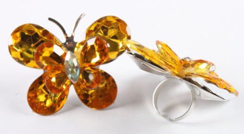 Ladies Yellow Double Butterfly Metal Adjustable Finger Ring