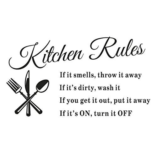 SJINC Newest Hot Sale Hot Removable Kitchen Rules Words Wall Stickers Decal Home Decor Vinyl Art Mural (B) (B) (Wall Stickers Decals compare prices)