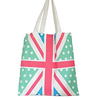 Cotton Fashion Shopper Tote Bag Flag Design Green & Red & White & Blue