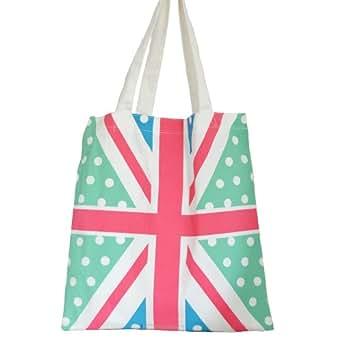 Cotton Fashion Shopper Tote Bag Flag Design Green & Red & White & Blue