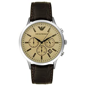 Emporio Armani Men's AR2433 Chronograph Stainless Steel and Brown Leather Watch
