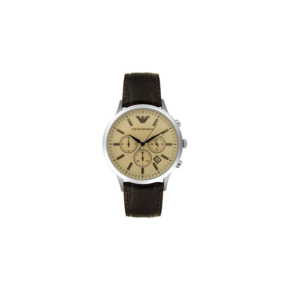 Emporio Armani Mens AR2433 Dress Brown Leather Watch