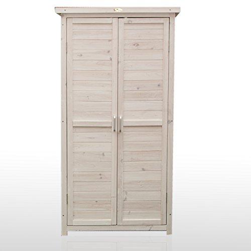 Armadio a 2 ante in legno sbiancato 69x37x153 provenzio by for Armadio legno giardino