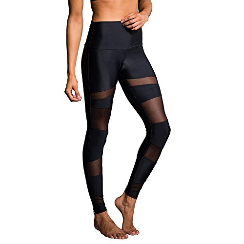 Onzie Women's High Rise Bondage Legging (Black/Black Mesh,S/M)