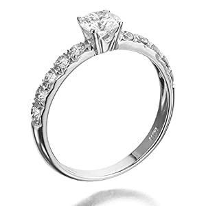 Solitaire Diamond Ring 3/4 ct, I Color, I1 Clarity, Certified, Round Cut, in 18K Gold / White