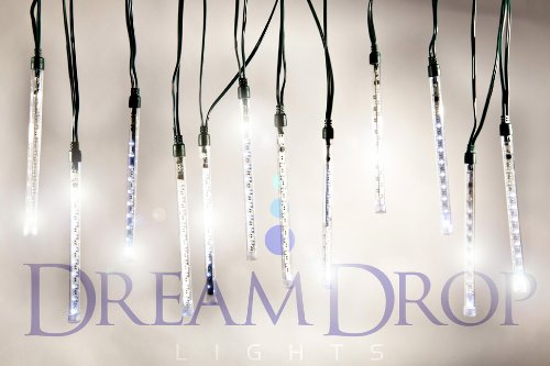 """Dream Drop Lights - Set Of 12 Double Sided 7"""" Led Light Tubes With Snowfall Light Effect"""