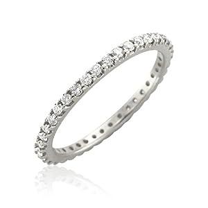 14k White Gold Diamond Eternity Band Ring (H, I1-I2, 0.50 carat)