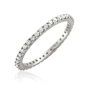 14k White Gold Diamond Eternity Band Ring (H, I1, 0.50 carat)