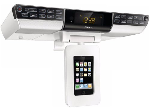 Philips Under the Cabinet iPhone & iPod Docking Station - Space Saving Mounting Dock & Kitchen Clock AM / FM Digital Tuner Stereo Radio with 20 Station Presets, Bass Reflex Speakers, Dynamic Bass Boost, Digital Sound Control, 4 Preset Sound Effects, Cooking Timer, Buzzer Alarm & Magnetic Remote Control