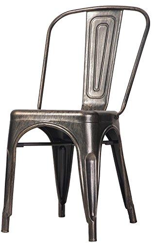Merax High Back Steel Stackable Vintage Metal Dining Chair, Golden Black (Set of 2) 1