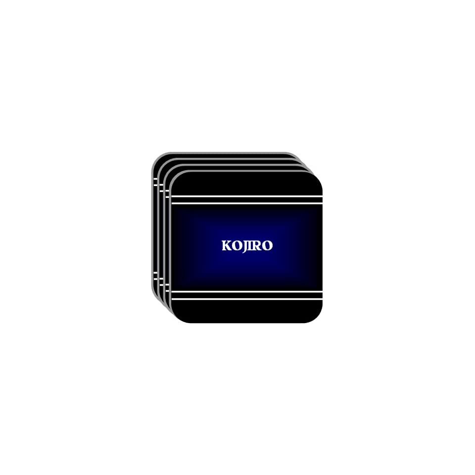 Personal Name Gift   KOJIRO Set of 4 Mini Mousepad Coasters (black design)