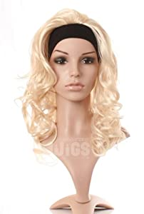 Light Blonde 3/4 Half Wig Extension Hair Piece - With Built in Headband for easy fit - Only from Wonderland Wigs