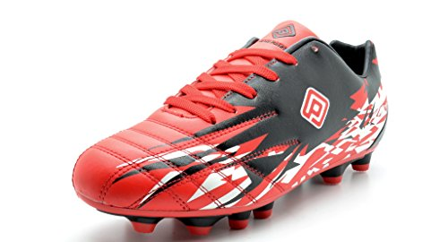 Dream Pairs 151027 Men's Sport Flexible Athletic Lace Up Light Weight Outdoor Cleats Football Soccer Shoes RED-BLACK-WHITE-SZ-7