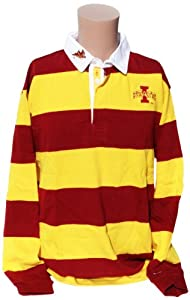 NCAA Iowa State Cyclones Mens Striped Rugby Shirt, Cardinal Yellow by Donegal Bay