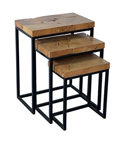 Jeffan Set of 3 Rectangle Nesting Tables, Natural/Black
