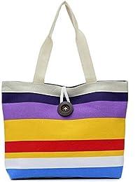 Altumcloud(Tm)Summer Style Canvas Women Bag Fashion Colorful Striped Womens Handbags Shoulder Bag Ladies Casual...