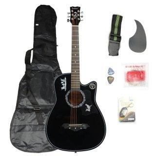 Moppi DK – 38C Basswood Gitarre schwarz mit Tasche Riemen nimmt LCD Tuner Pickguard String günstig online kaufen