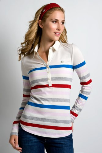 Long Sleeve Pima Cotton Jersey Striped Polo