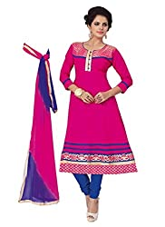 Govardhan Fashion pink and blue cottan Unstitched Dress Material
