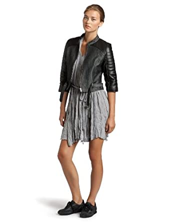 Project Runway Denim/Leather Jacket,Dele,X-Small