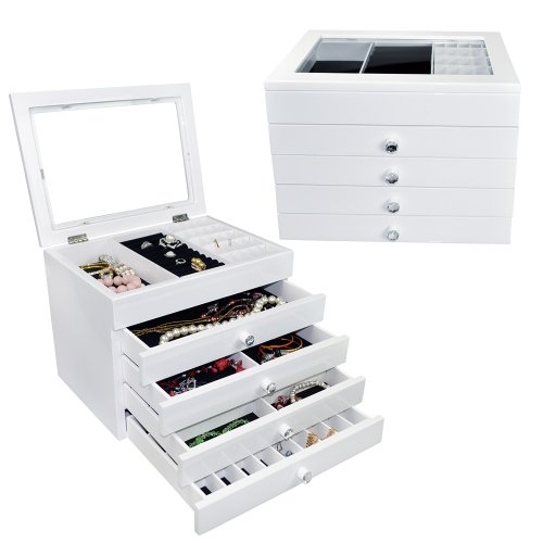White High Gloss View Top Wood Jewelry Chest. 3M Anti-Tarnish Tabs. Cleaning Cloth.