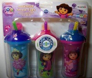 Munchkin Dora the Explorer Click Lock Insulated Straw Cups BPA Free 9oz 266ml - 3pk - 1