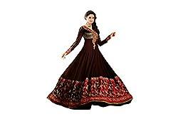 Pavani Women's Georgette Semi Stitched Dress Material (D1500175_Maroon_Free Size)