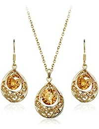 Cyan Waterdrop Golden Pendant Set For Women