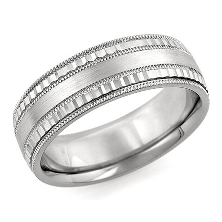 6.0 mm 10Kt White Gold Wedding Band Ring with Brush Satin Finish, Milgrain Grooves and Scallope Design Style SE4657Y6 made , Finger Size 8