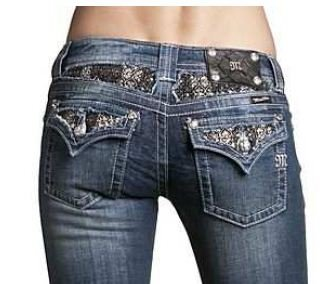 Womens Miss Me Jeans Brand NEW Design Black/Silver Metallic Fabric with Fleur De Lis & Filigree Design Boot Cut Designer Jeans Medium/Vintage Wash/Distressed - Crystal Accents Open Pocket, 26