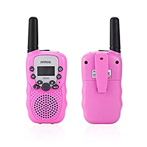 Joylor Durable Walkie Talkies Twin Toy for kids,Easy To Use and Kids Friendly 2-Way Radio 3-5KM Range Interphone Outdoor Camping Hiking-Pink