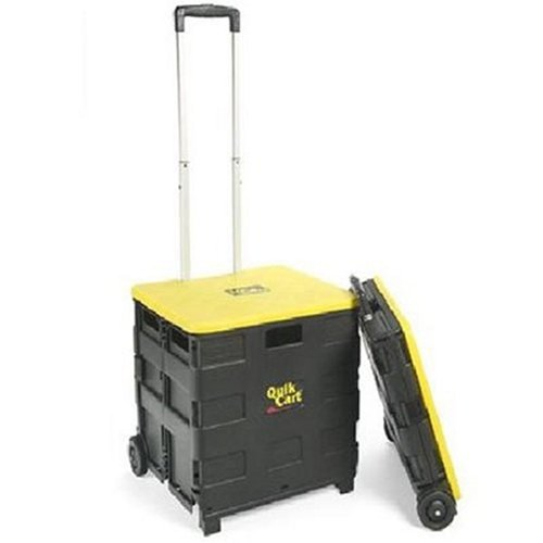 """Folding Hand Cart Trolley With Wheels Lid Cover Carry Shopping Storage Office Rolling Case Xlarge 18""""x15""""x16"""""""