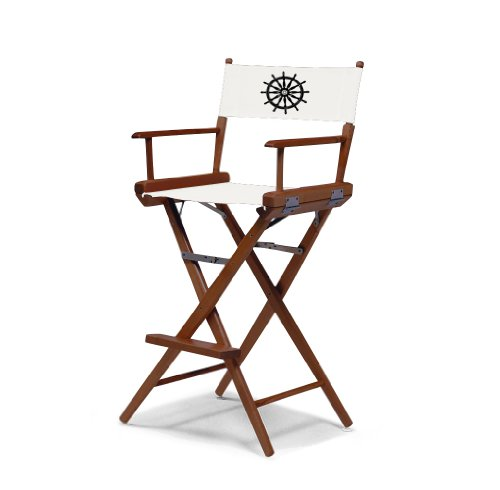 Telescope Casual World Famous Bar Height Director Chair, Walnut Finish With Marine White And Black Motif Cover
