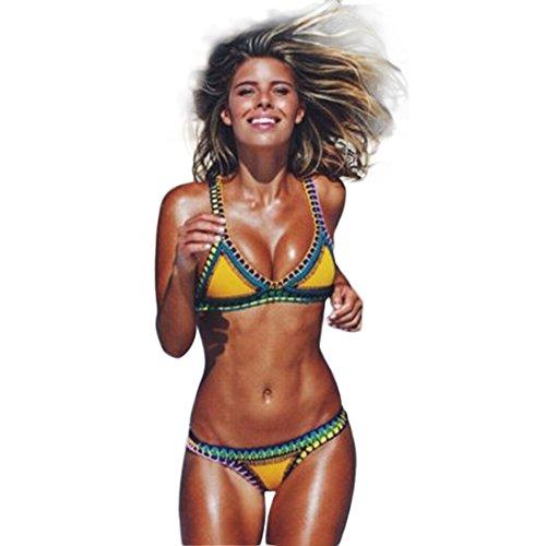 Bellezza Donna Bikini Coordinati Bordo Uncinetto Tessuti a Mano Imbottito Costumi da Bagno Mare e piscina Vacanza