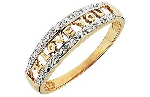 9ct Gold Diamond Set 'I Love You' Ring.