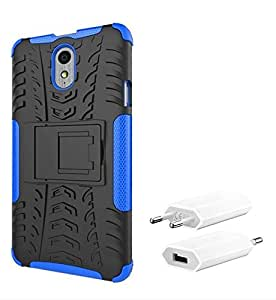 Chevron Tough Hybrid Armor Back Cover Case with Kickstand for Lenovo Vibe P1m with USB Mobile Wall Charger (Blue)