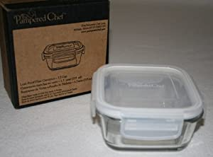 Pampered Chef 1.5 cup Square Leakproof Glass Container