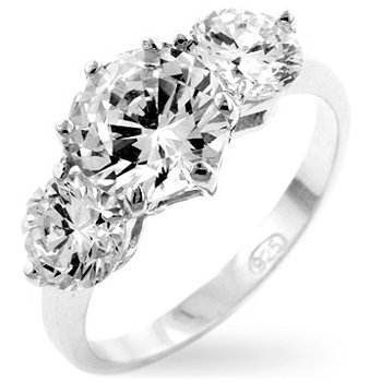 White Gold Rhodium Bonded Classic Clear Anniversary Triplet Ring with 3 Round Cut Clear CZ in a Prong Setting in Silvertone
