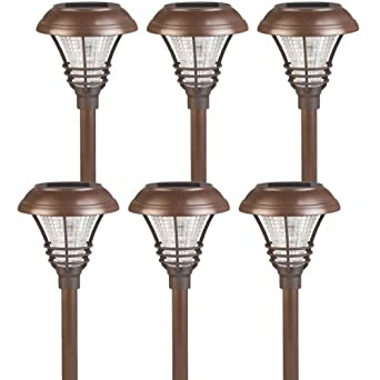 6 pack westinghouse brown kenbury solar outdoor garden pathway led stake li. Black Bedroom Furniture Sets. Home Design Ideas