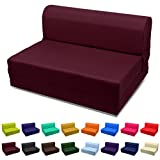 Sleeper Chair Folding Foam Bed Choose Color & Sized Single,twin or Full (Full (5x46x74), Burgundy)