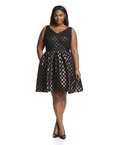 Adrianna Papell Plus Women's Short Dot Jacquard Dress